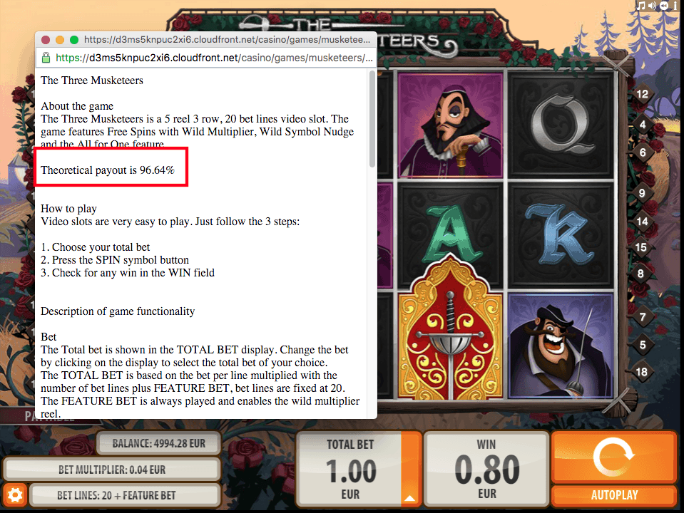 Quickspin Three Musketeers - Game Info Screenshot