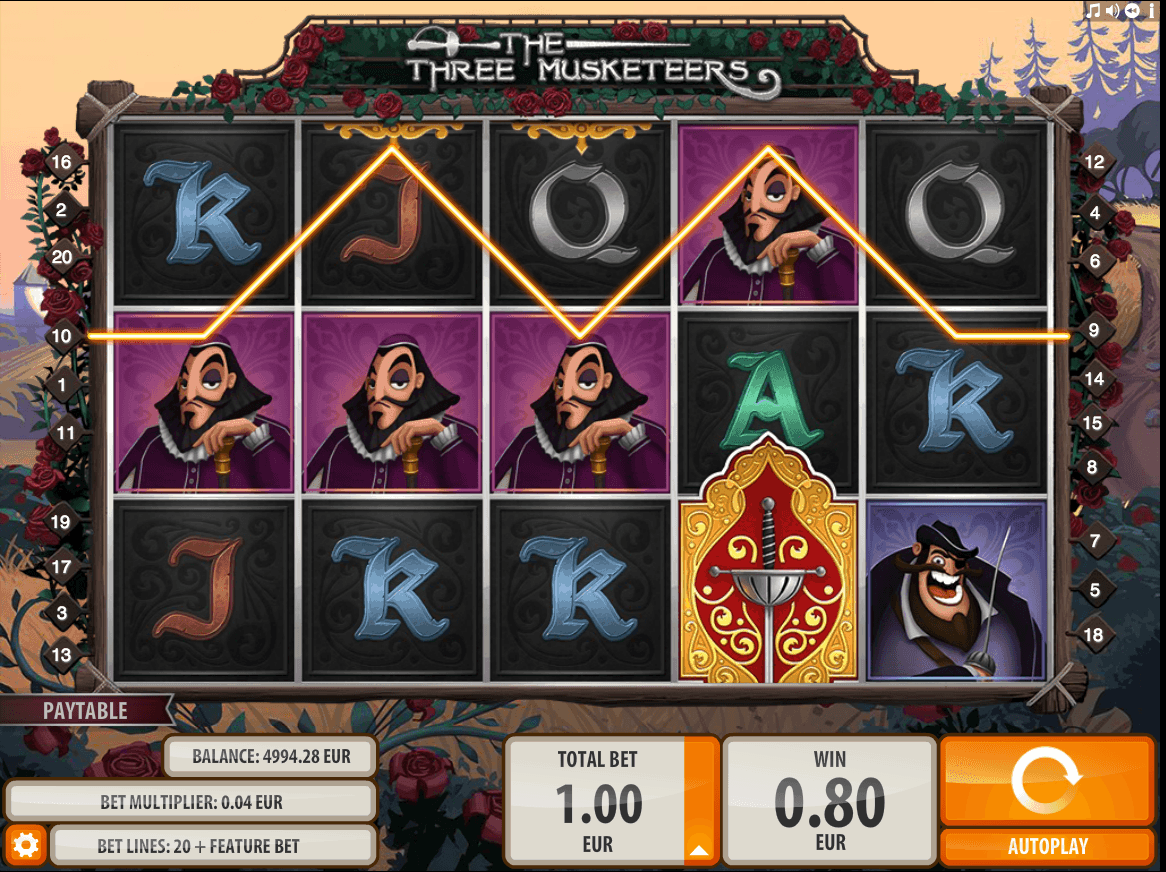 Quickspin Three Musketeers - Payline Example Screenshot
