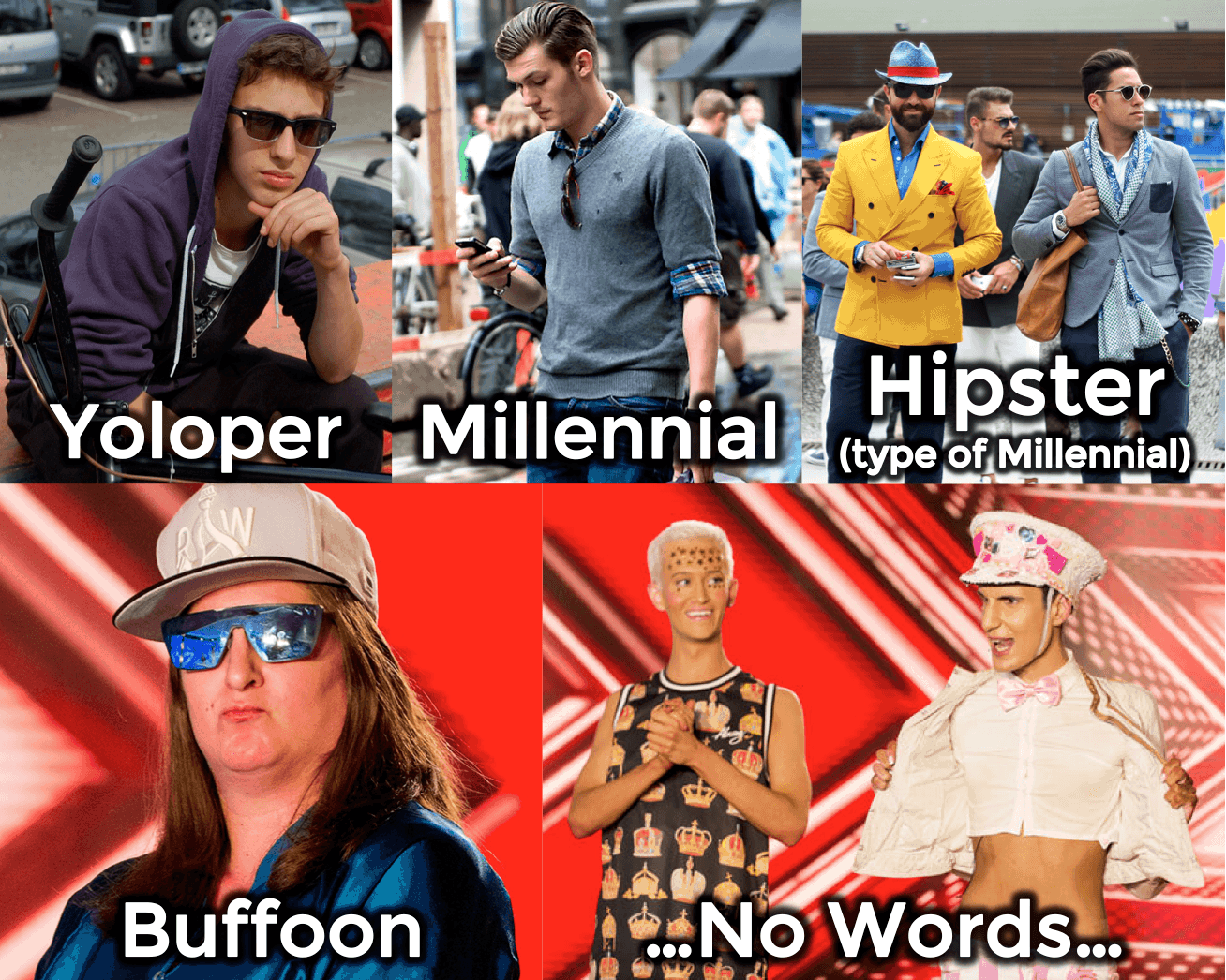 Millennials, Hipsters, Yolopers and others